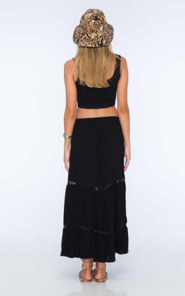 Indah Starry Rayon Maxi Skirt | Black