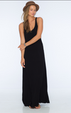 Indah Pilar Solid Rayon Crepe Center Panel Maxi Dress | Black