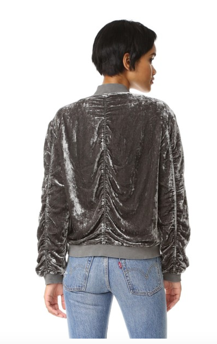 Free People Ruched Velvet Bomber Jacket | Navy