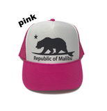 REPUBLIC OF MALIBU Trucker Hat by PCA | Navy | Baby Blue | Teal | Pink | Maroon
