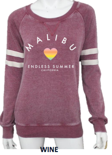MALIBU SWEATS Endless Summer Burnout Crew Neck Sweatshirt w/ Stripe Sleeve  | Wine