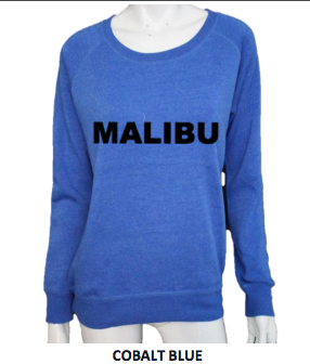 MALIBU SWEATS Live Free Love w/ MALIBU Heather Crew Neck Pullover | blue