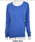 MALIBU SWEATS Live Free Love Collection | Heather Crew Neck Pullover | Cobalt Blue