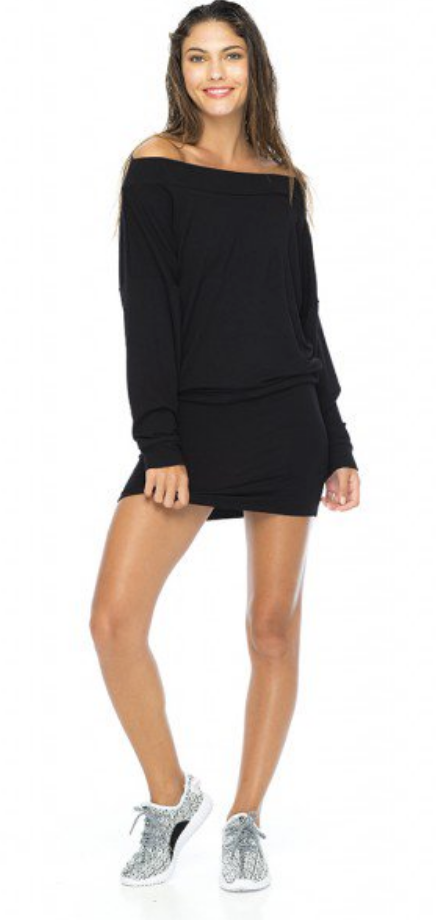 Indah Women's Baby Ruth Long Sleeve Mini Dress | Black