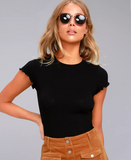 Project Social T Lainey Rib Tiny Tee | Black