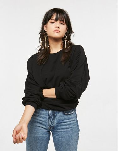 Project Social T Frances Rouched Sleeve Sweatshirt | Black