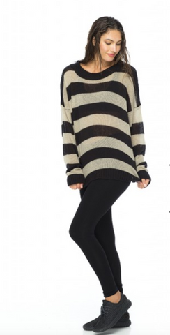 Indah Marshmallow Over sized Knit Sweater | Toast/Black Stripe