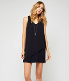 Gentle Fawn Brianna Sleeveless Faux Chiffon Mini Dress | Black