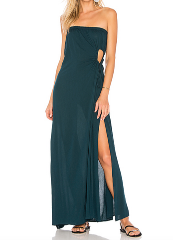 Indah Allegra Strapless Long Keyhole Dress | Teal