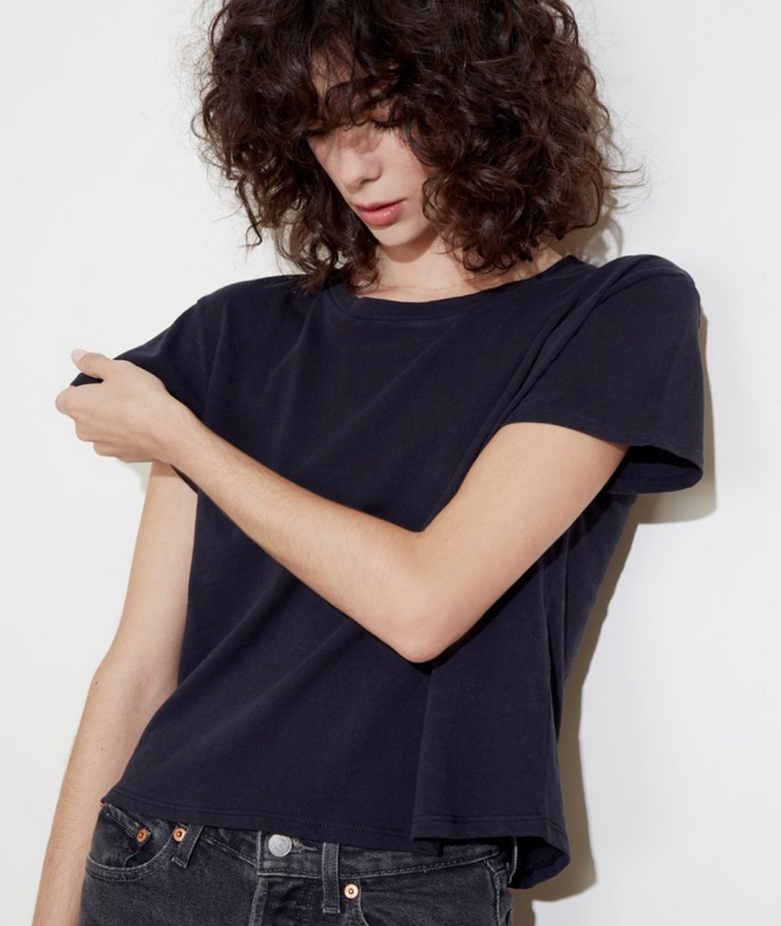 NATION LTD Marie Boxy Crop Recycled Cotton Tee | Off White, Black
