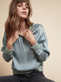 NATION LTD Shay Drop Shoulder Sateen Sweatshirt | Menthol