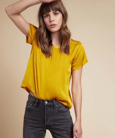 NATION LTD Marie Boxy Crop Sateen Tee | Dijon