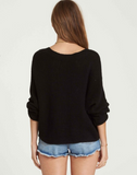 Billabong Women's Back It Up Lace up Sweater Front to back or Back to Front | Black,  Coconut Shell