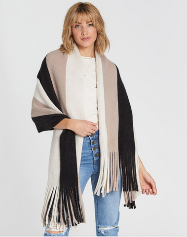 Billabong Women's On The Fringes Striped Scarf | Black