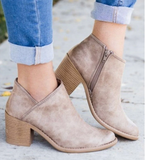 2019 Chic Autumn Women Shoes Retro High Heel Ankle Boots Female Block Mid Heels Casual Botas Mujer Booties Feminina Plus Size 43