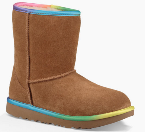 UGG Girls' Classic II Rainbow Pull-Up Boots Little Kid | Chestnut
