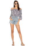 Indah Harper Off The Shoulder Crop Top | Blue Batik