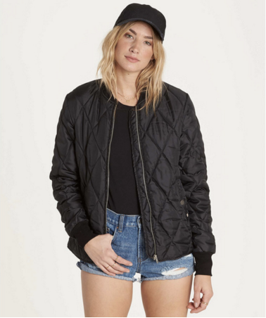 Billabong Women's Ivory Valley Quilted Bomber Jacket | Black