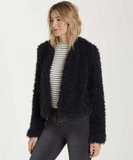 Billabong Women's Fur Keeps Faux Fur Cropped Jacket | Off Black
