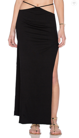Indah Gigi Solid Side Slit Skirt | Black