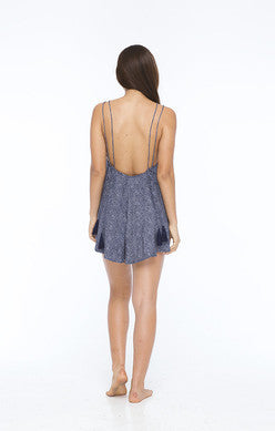 INDAH Hugo Strappy Back Printed Romper | Navy Blur