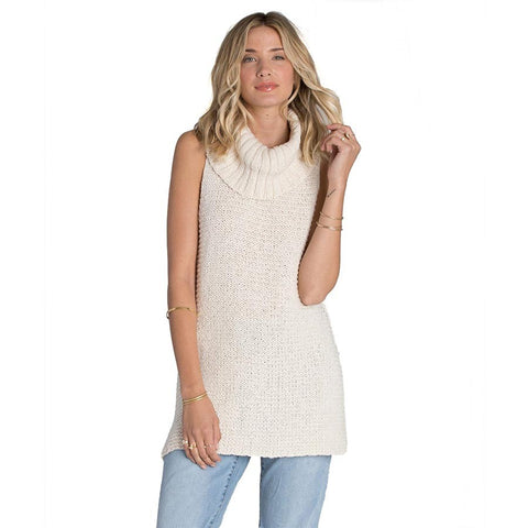 Billabong Women's Sidewaze Love Sleeveless turtleneck Tunic Sweater | Pearl | Large |SALE