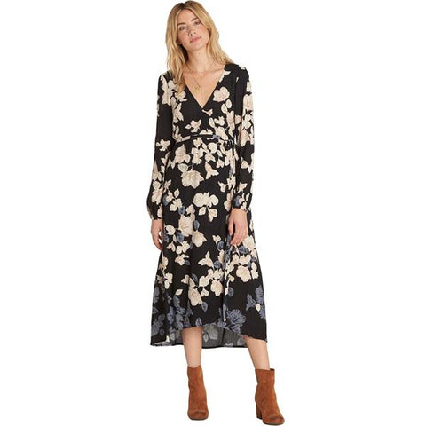 Billabong Women's Floral Fever Maxi Wrap Dress | Black Floral