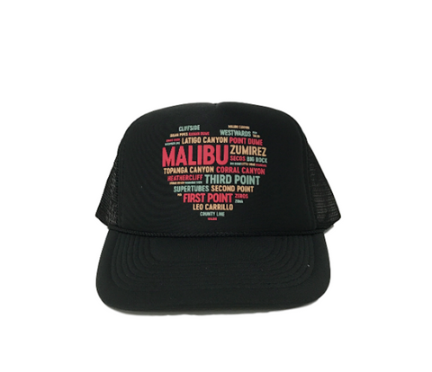 Heart OF MALIBU BEACHES Trucker Hat by PCA | Black | Navy