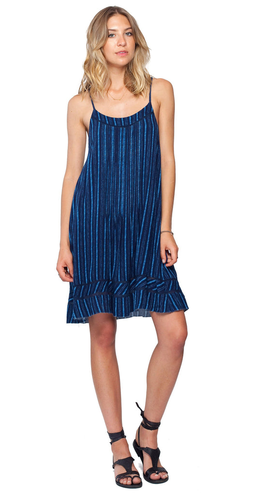 Gentle Fawn Script Dress | Indigo Stripe