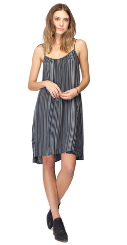 Gentle Fawn Aperture Stripe Low Back Dress | Carbon Stripe