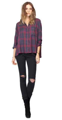 Gentle Fawn Tempt Top | Navy Plaid