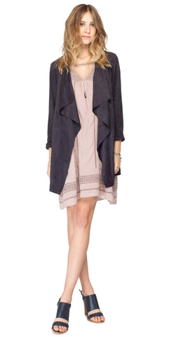 Gentle Fawn Preston Suede Waterfall Jacket | Black