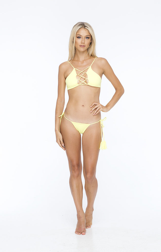 INDAH Swim Hapa Lace Up Bikini Top | Lemon
