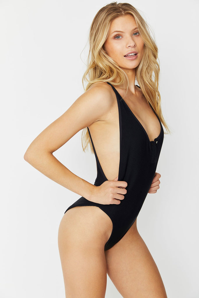 Frankies Bikinis Adele Ribbed One Piece Swimsuit | Black