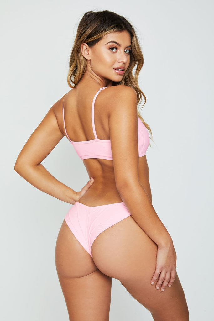 Frankies Bikinis Greer Ribbed Cheeky Bikini Bottom