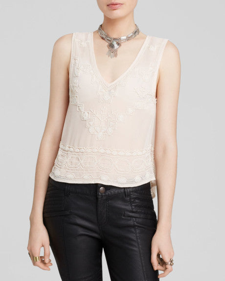 Free People Run With It Embellished Tank | Champagne