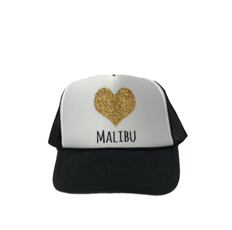 HEART OF MALIBU Sparkle Trucker Hat by PCA | Pink | Gold