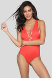 INDAH Rainey Full Cut Lace Up One Piece | Chili Pepper