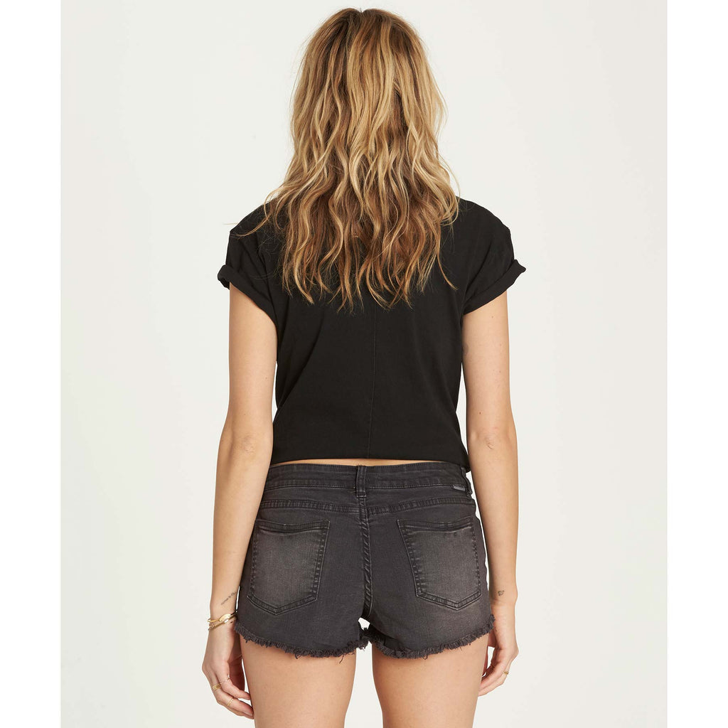 Billabong Women's Buttoned Up Denim Shorts | Black Pebble