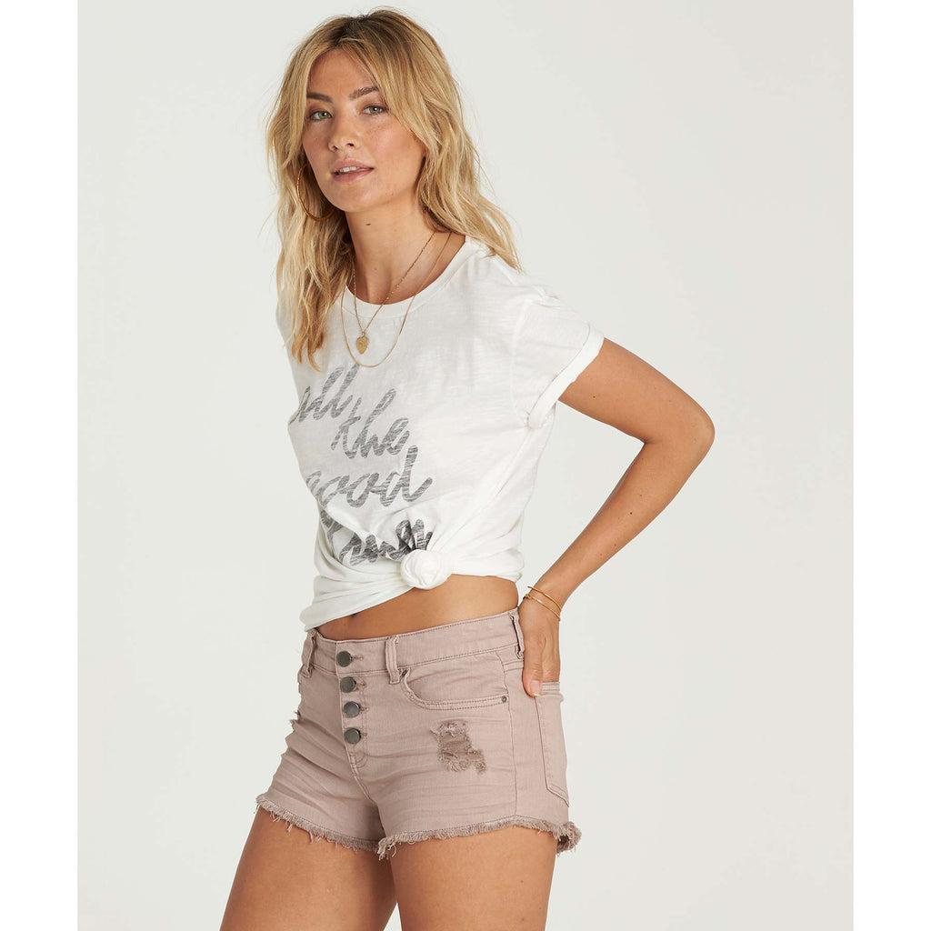 Billabong Women's Buttoned Up Denim Shorts | Stone