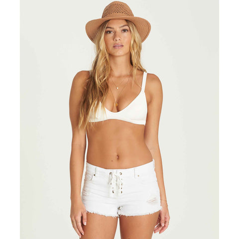 Billabong Women's Lite Hearted Denim Shorts | Sea Bleach White