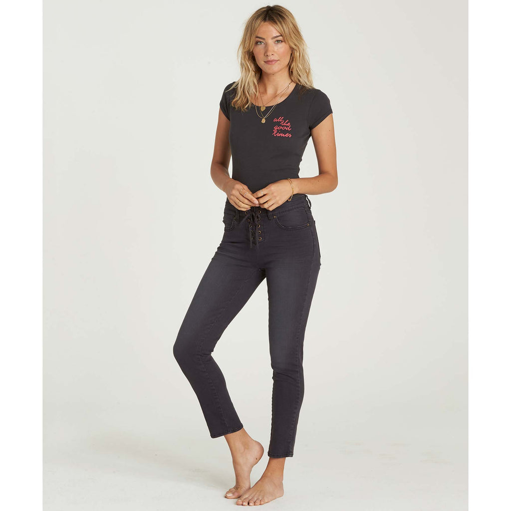 Billabong Women's Side By Side Lace-Up Front Jeans | Black Pebble