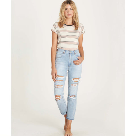 Billabong Women's Cheeky Denim High Waisted Destructed Jeans | Water