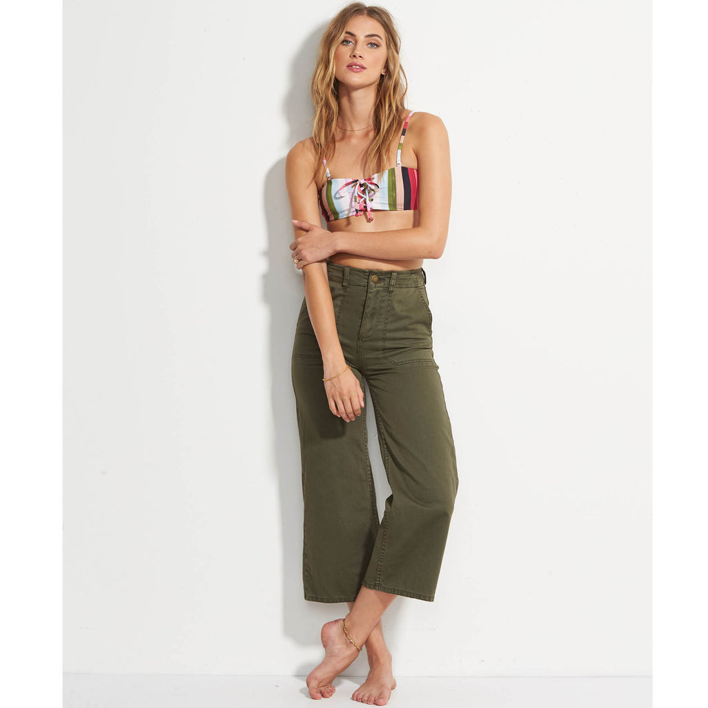 Billabong Women's Lowtide Wide Leg Denim Pant | Olive