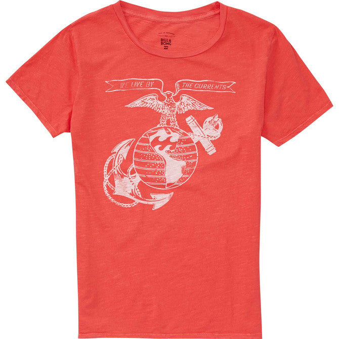Billabong Women's Live By The Currents Tee | Sunset Red