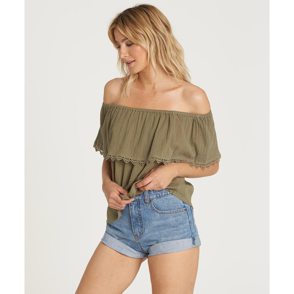 Billabong Women's Spring Fling Off the Shoulder Top | Seagrass
