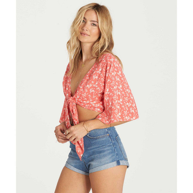 Billabong Women's Get It Twisted Tie-front or back Wrap Top | Vintage Coral