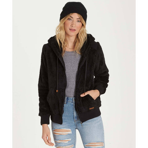Billabong Women's Cozy Down Luxe Butter Fleece Zip Up Jacket | Black