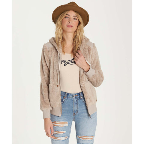 Billabong Women's Cozy Down Luxe Butter Fleece Jacket | Coconut Shell