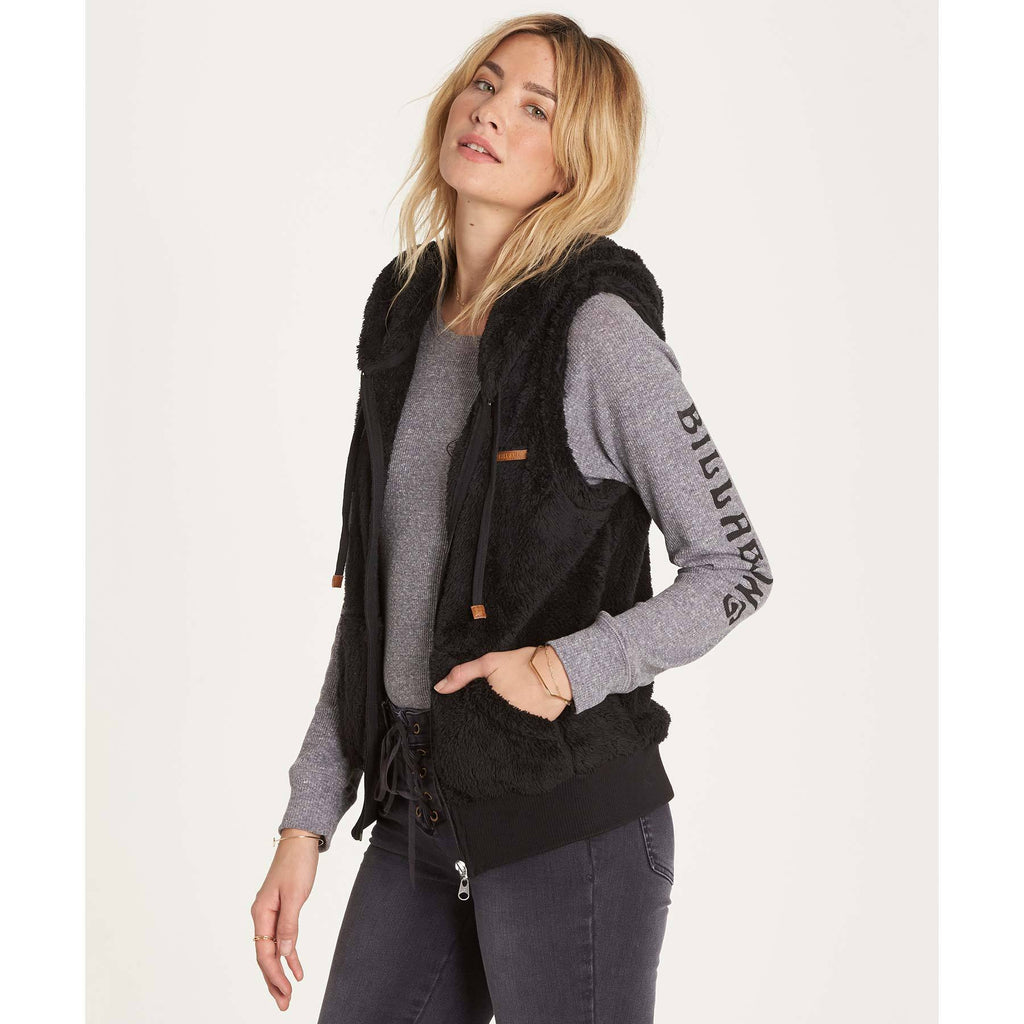 Billabong Women's Side By Side Butter Fur Vest | Black